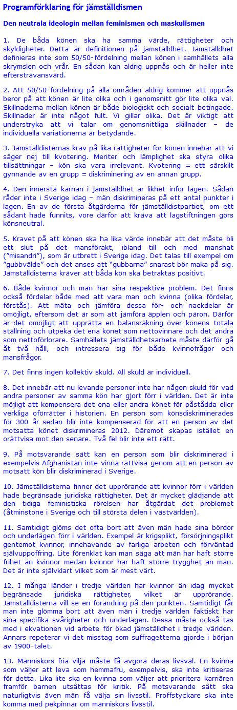 Programförklaring för jämställdismen